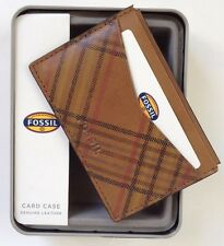 FOSSIL MEN'S LEATHER AMES CARD CASE FRONT POCKET WALLET CAMEL ML3558235 NEW. BOX