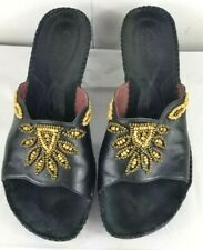 Clarks Artisan Empress Sz 10M Black Leather Beaded Slides Heeled Sandals VGC