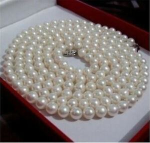 """Genuine Natural 6-7mm White Akoya Cultured Pearl Long Necklace 50"""" AAA"""