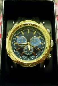 FMD important Men's Watch black,gold with  Black Band