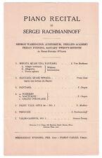 Sergei Rachmaninoff Piano Recital circa 1923 Program Phillips Academy