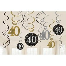 12 X 40TH BIRTHDAY PARTY HANGING SWIRLS BLACK GOLD CELEBRATION DECORATION AGE 40