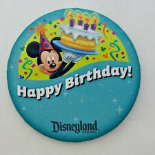 Disneyland souvenir button pinback Happy Birthday Mickey Mouse Disney badge pin