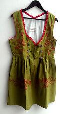 Damen Trachten Dirndl ärmellos grün m. roter Stickerei Gr. 44 v. Lukas