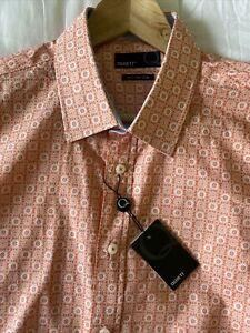 Quieti Shirt Men's Size XL Long Sleeve orange Print Fine Cotton NEW $115+ NWT