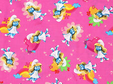 FAT QUARTER  SMURFETTE  SMURF  MOVIE CARTOON CRANSTON LICENSED COTTON FABRIC  FQ