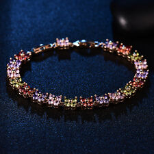 Colorful Crystal Gemstone Butterfly Clover Gold Filled Chain Women Lady Bracelet
