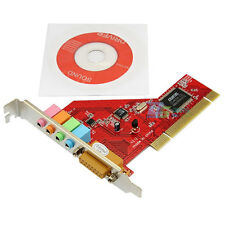 PCI 4 Channel Audio PC SRS 3D Sound Card PCI 15pin Game Port for Computer Red
