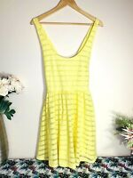 FOREVER NEW Yellow Size 14 Fit & Flared Racerback Pleated Lined Midi Dress