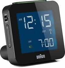 Braun Classic Digital Globally Radio Controlled Travel Alarm Clock Black BNC009