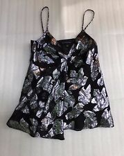 Womens Black Silver Metallic Floral Luxe Posh Silk Banana Republic Top Size 4