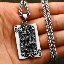 Mens Casino Lucky Poker Pendant Necklace Stainless Steel Gambling King Jewelry