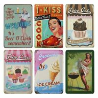 6 PC Tin Signs Vintage Style Metal As Wall Decor Decorative Coffee Bar Sign