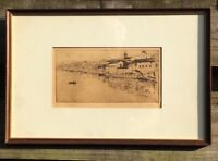 Antique Etching/Woodblock  Seville, Spain 'The Guadalaquivir at Triana' Signed