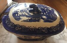 Hulse Nixon Adderley Blue White Antique Stoneware 1853-1868 Bowl W/ Lid England