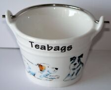 Dogs teabag tidy Bucket, small bucket decorated with different dogs all round