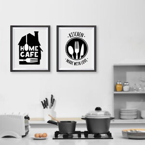 Kitchen Made With Love Quote Home Cafe Wall Art Print And Poster Room Decoration
