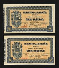 F.C. PAREJA CORRELATIVA 100 PESETAS BANCO DE GIJON 1937 , S/C- .