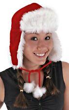 Santa Aviator Bomber Hat Costume Christmas Party Caroler Red Adult Teen Ear Flap