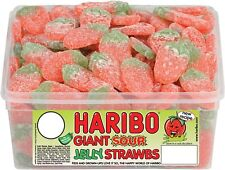 Haribo Giant Sour Strawberries Tub 120 Pieces Pick N Mix Sweets
