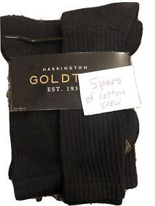 Gold Toe Men's Harrington Crew 5 Pack, Black, Shoe Size: 6-12.5, Black NEW