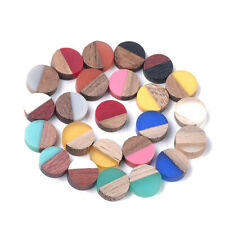 50pcs Random Half Wood Half Resin Cabochons Smooth Flat Back Cameo Tiles 10mm
