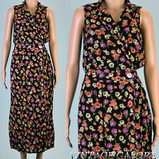 VINTAGE black floral cross over front Rayon summer Secretary sun Dress Sz S