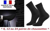 6 / 12 / 24 PAIRES DE CHAUSSETTES UNI NOIR HOMME GARCON COTON TALON RENFORCE