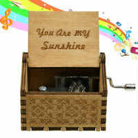 You Are My Sunshine Engraved Hand Crank Wooden Music Box Kids Toy Gift Decor