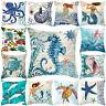 HN- Ocean Starfish Mermaids Sea Turtle Soft Cushion Cover Pillow Case Home Decor