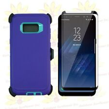 Ppl Tl Samsung S8+ Case w/ Tempered Glass Screen & Clip Fits Otterbox Defender