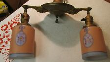 Antique Brass 2 Light Ceiling Fixture & Shades- Bows