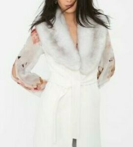 WHBM Women's faux fur collar cream wrap long vest Size XXS/XS