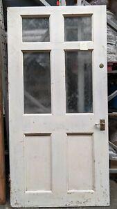 Heavy Reclaimed Georgian 6 panel wooden door with glass