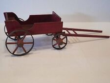 Vintage DOLL Horse BUGGY Red Paint Wood & Tin Wheels Decor Nice Larger Piece