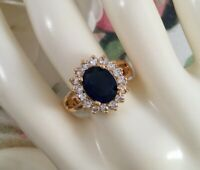 Vintage Jewellery Gold Ring with Blue White Sapphires Antique Deco Jewelry P