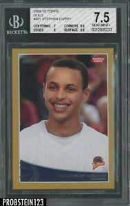 2009-10 Topps Gold #321 Stephen Curry Warriors RC Rookie /2009 BGS 7.5 w/ 9.5