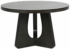 "48"" Round Dining Table Solid Mahogany Wood Pale Black Finish Handmade Modern"