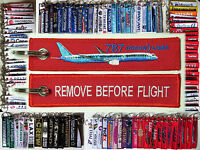Keyring Boeing 787 Dreamliner RED Remove Before Flight tag label keychain pilot