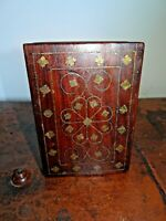 Antique 19th Century Brass Inlaid Oak Colonial Trinket Box with Demi-Lune Drawer