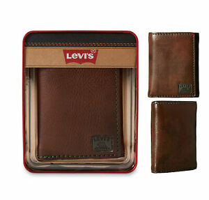 Levi's Men's Leather Sleek and Slim Trifold Wallet Brown