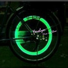 Green Bicycle Bike Car Tyre Tire Valve Wheel Caps LED Flash Light Lamp