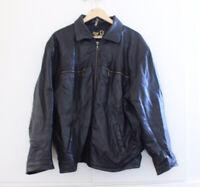 Real Leather Women's Size XL Bomber Jacket Black Genuine Biker Coat Vintage