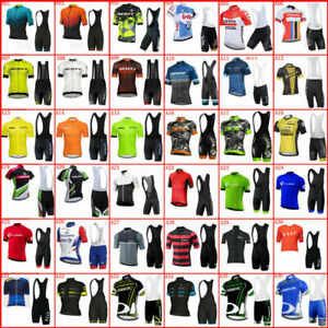 Men Cycling Jersey Brace Shorts Set Short Sleeve Road Bike Shirt Bib Shorts