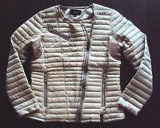 RUDSAK Women's Lightweight Down Leather Accent Puffer Jacket Coat Tan Brown sz L