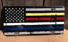 American Flag Police Fire EMS Wholesale Metal Novelty Wall Decor License Plate
