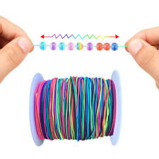100M 1mm Elastic Cord Beading Diy Thread String Rainbow Colour Bracelet Craft