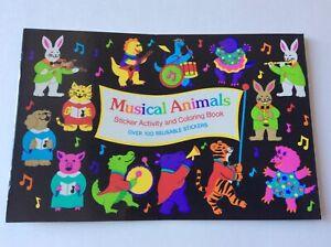 Sandylion Vtg. Musical Animals Sticker Activity Book English German Edition 1991
