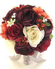 Wedding Bouquets Bridal Silk Flower 17 pc package EGGPLANT BURGUNDY Mauve SILVER