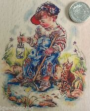 FISHING BOY PAINTBOX POPPETS Cute Child Wooden Rubber Stamp Creative Expressions